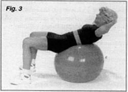 Woman excercising with ball.