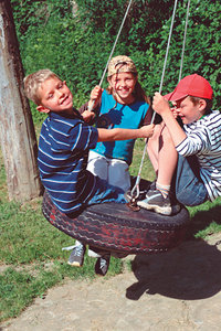 kids playing on swing