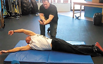 Prone to supine upper-extremity roll