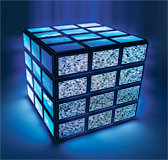 Cube of televisions. - Copyright – Stock Photo / Register Mark