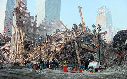 the twisted remains of the twin towers