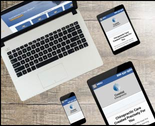 Various devices showcasing one of Online Chiro's responsive web templates.