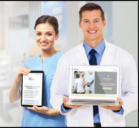 Two medical practitioners showcasing one of many responsive designs available through Online Chiro's design gallery.